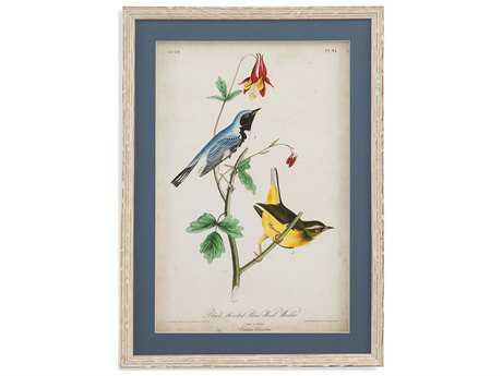 Bassett Mirror Belgian Luxe Blue Wood Warbler Painting BA9900805AEC