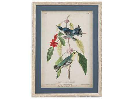 Bassett Mirror Belgian Luxe Cerulean Wood Warbler Painting BA9900805BEC