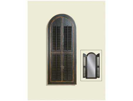 Bassett Mirror Belgian Modern 30 x 70 Rusticated Black Arched Shutter Mirror