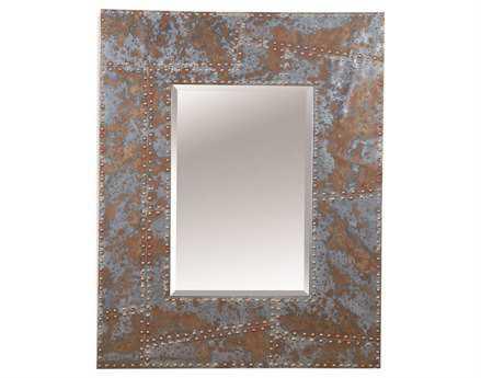Bassett Mirror Belgian Modern 40 x 50 Rustic Metal & Nailhead Newton Wall Mirror BAM3400BEC