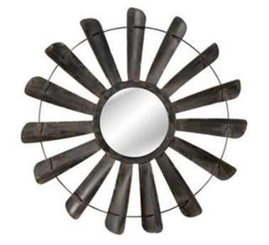 Bassett Mirror Belgian Modern 48 x 48 Antique Iron Nolan Wall Mirror BAM3642EC