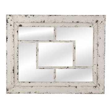 Bassett Mirror Belgian Modern 40 x 32 Rustic White Harper Wall Mirror BAM3643EC