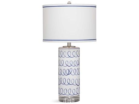 Bassett Mirror Ceramic White / Blue Swirl Buffet Lamp BAL3546T
