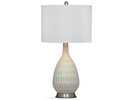 Bassett Mirror Ceramic Light Blue / Brushed Steel Buffet Lamp