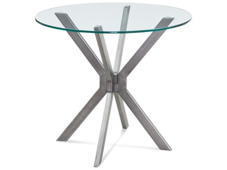 Bassett Mirror Deen Gunmetal / Clear Glass Round End Table
