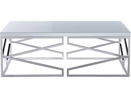 Bassett Mirror Gish Polished Chrome / White Glass 50'' Wide Rectangular Coffee Table BA3460LR100