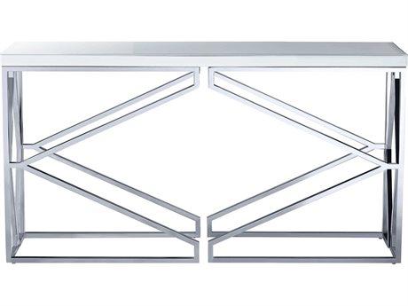 Bassett Mirror Gish Polished Chrome / White Glass 56'' Wide Rectangular Console Table BA3460LR400