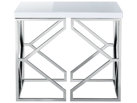 Bassett Mirror Gish Polished Chrome / White Glass 28'' Wide Rectangular End Table