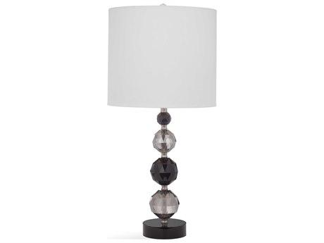 Bassett Mirror Glass Clear / Black Gray Crystal Buffet Lamp BAL3488T