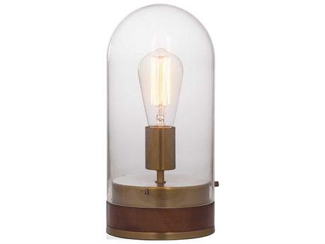 Bassett Mirror Glass Brass / Wood Table Lamp BAL3480T