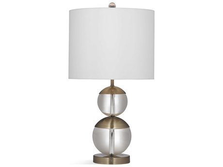 Bassett Mirror Glass Clear / Antique Brass Crystal Table Lamp BAL3570T