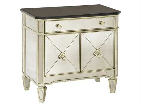 Bassett Mirror Hollywood Glam Antique Mirror/Silver Leaf Borghese Chairside Two Door / One Drawer Commode Chest BA8311225EC