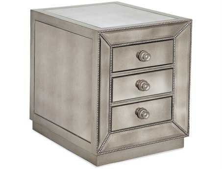 Bassett Mirror Hollywood Glam Antique Mirror Murano Three Drawer Chairside Chest BAT2624203EC