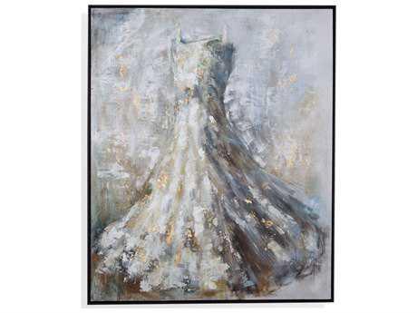 Painting Bassett Mirror Hollywood Glam ''White Dress'' Painting BA7300312EC