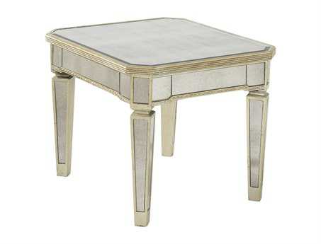 Bassett Mirror Hollywood Glam 28 x 24 Rectangular Antique Mirror/Silver Leaf Borghese End Table