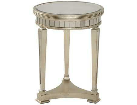 Bassett Mirror Hollywood Glam 20 x 20 Round Antique Mirror/Silver Leaf Borghese Round End Table
