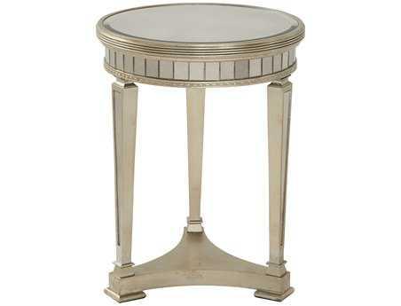 Bassett Mirror Hollywood Glam 20 x 20 Round Antique Mirror/Silver Leaf Borghese Round End Table BA8311220EC
