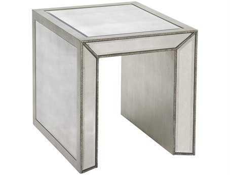 Bassett Mirror Hollywood Glam 24 x 22 Rectangular Antique Mirror Murano End Table BAT2624200EC