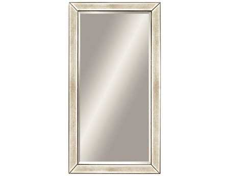 Bassett Mirror Hollywood Glam 43 x 79 Antique Mirror Silver Beaded Leaner Mirror