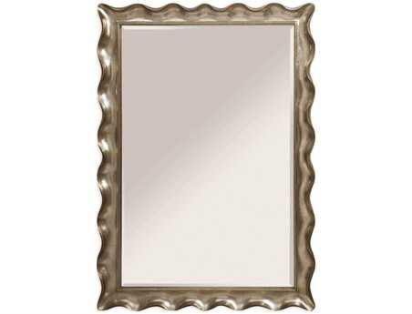 Bassett Mirror Hollywood Glam 59 x 83 Silver Leaf Pie Crust Leaner Mirror