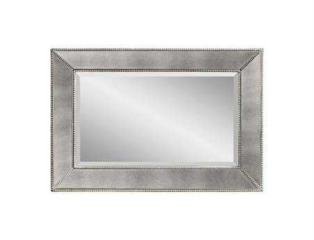 Bassett Mirror Hollywood Glam 36 x 24 Antique Silver Beaded Wall Mirror BAM3341BEC