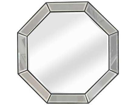 Bassett Mirror Hollywood Glam 44 x 44 Silver Leaf Beaded Octagon Wall Mirror BAM3450BEC