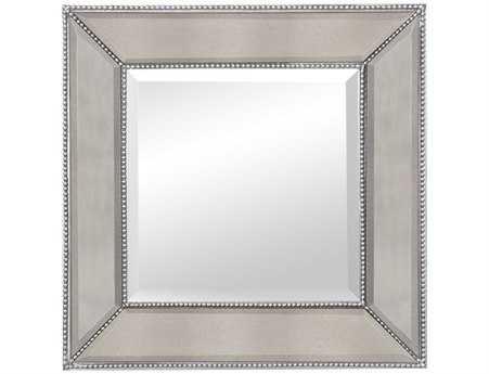 Bassett Mirror Hollywood Glam 24 x 24 Silver Leaf Beaded Wall Mirror BAM3592BEC