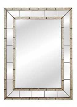 Bassett Mirror Hollywood Glam 36 x 48 Antique & Clear Caro Wall Mirror BAM3639EC