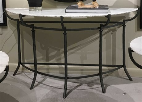 Bassett Mirror Inscape Hammered Iron / Marble 54'' Wide Demilune Console Table
