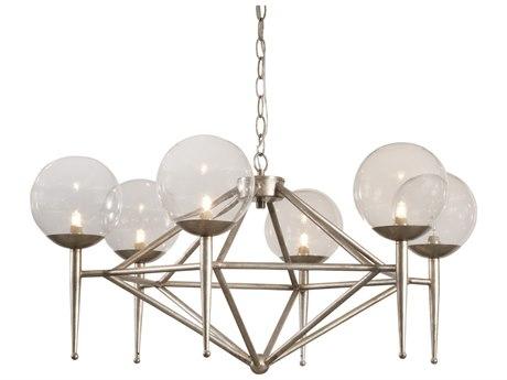 Bassett Mirror Metal Antique Brass Glass LED Medium Chandelier BAL3744C