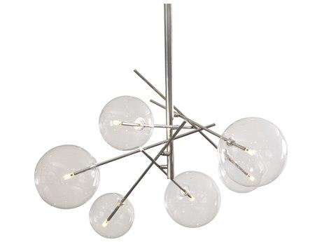 Bassett Mirror Metal Polished Nickel Glass LED Medium Chandelier BAL3768C