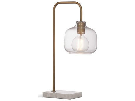 Bassett Mirror Metal Brass / White Marble Desk Lamp BAL3478T
