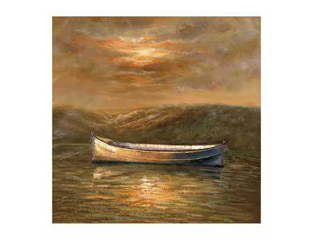 Bassett Mirror Old World Sunset Canoe Canvas Wrap Wall Art