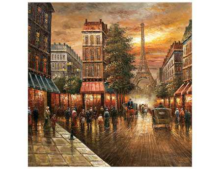 Bassett Mirror Old World Paris Nights Canvas Wrap Wall Art BA7200662EC