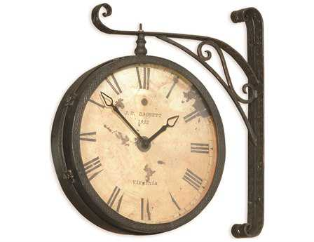 Bassett Mirror Old World Black & Copper Victorian Double-Faced Wall Clock