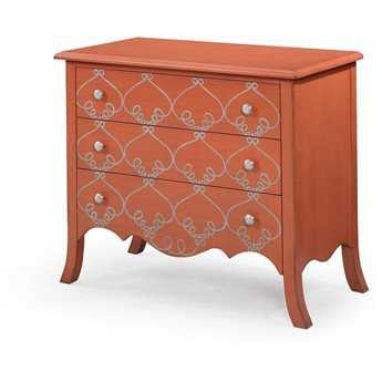 Bassett Mirror Pan Pacific Tangerine L'Orangerie Three Drawer Hall Chest