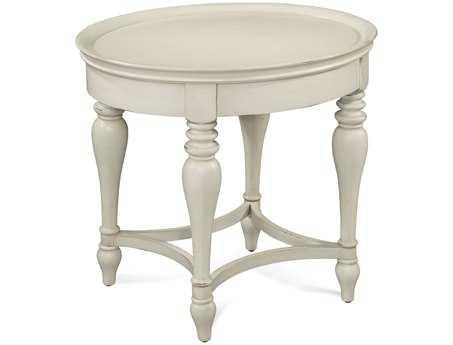 Bassett Mirror Pan Pacific 23 x 28 Oval White Sanibel End Table BA2862240EC