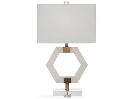 Bassett Mirror Stone Alabaster / Brass Crystal Buffet Lamp