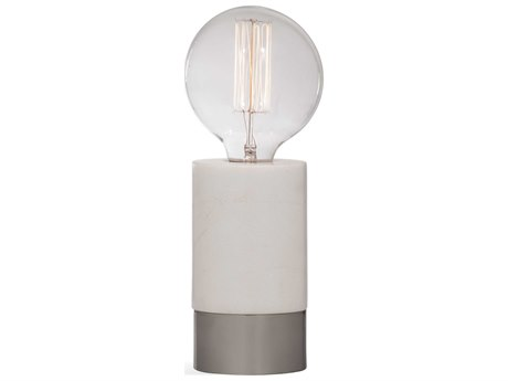 Bassett Mirror Stone White Marble / Satin Nickel Table Lamp BAL3479T
