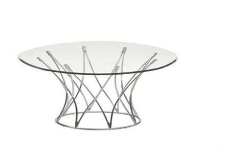 Bassett Mirror Thoroughly Modern 42 Round Silver Mercer Cocktail Table
