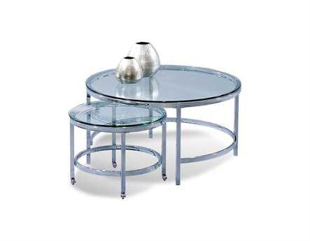 Bassett Mirror Thoroughly Modern 34 Round Polished Chrome Patinoire Cocktail Table