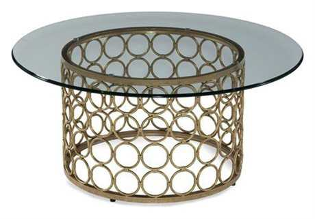 Bassett Mirror Thoroughly Modern 38 Round Lux Gold & Gold Leaf Carnaby Cocktail Table
