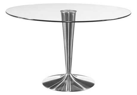 Bassett Mirror Thoroughly Modern 48 Round Silver Concorde Dining Table BAD2074701BTEC