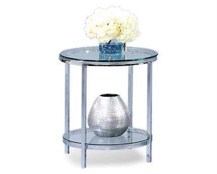 Bassett Mirror Thoroughly Modern 22 Round Polished Chrome Patinoire End Table BAT1792220EC