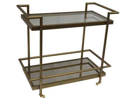 Bassett Mirror Thoroughly Modern 22 x 46 Rectangular Bronze Fouquet Tea Cart End Table BAT2739471EC