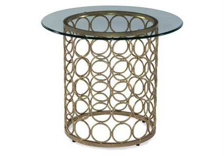Bassett Mirror Thoroughly Modern 19 Round Lux Gold & Gold Leaf Carnaby End Table BAT2789220BTEC