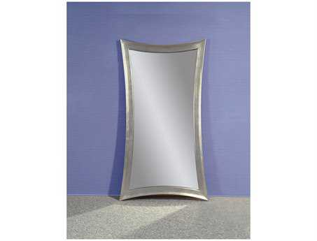 Bassett Mirror Thoroughly Modern 45 x 81 Silver Leaf Hour-Glass Shaped Leaner Floor Mirror