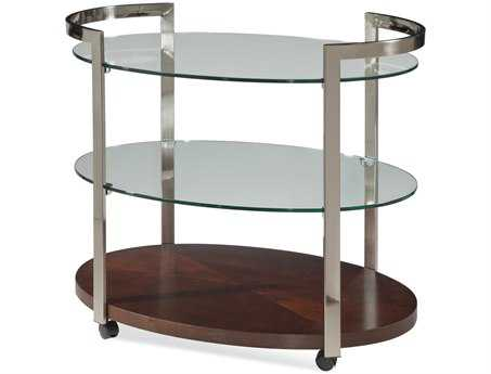 Bassett Mirror Thoroughly Modern 24 x 36 Rectangular Brown Gordon Tea Cart