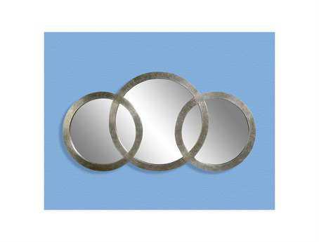 Bassett Mirror Thoroughly Modern 30 x 58 Silver Leaf Libra 3 Ring Mirror BAM2611EC
