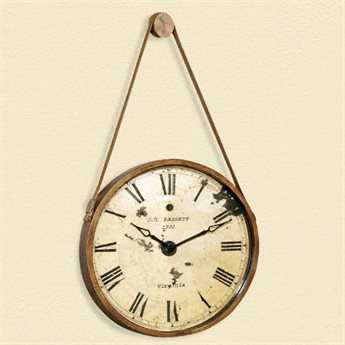 Bassett Mirror Thoroughly Modern Burnished Gold Watchman Wall Clock BAMC2666EC